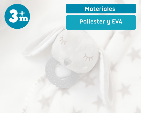 RATTLE PLUSH TOY GREY BUNNY WITH BALLS