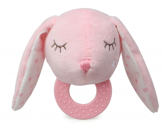 RATTLE PLUSH TOY PINK BUNNY WITH BALLS