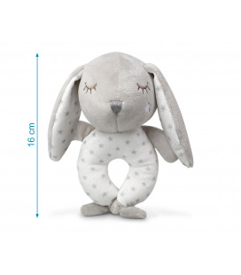 RATTLE PLUSH TOY BLUE BUNNY WITH BALLS